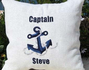 Nautical Personalized Embroidered Throw Accent nautical Captain Pillow Cover -Out to Sea-100% Linen Birthday Father's Day Boat Gift