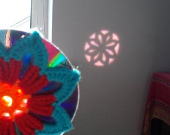 Crochet Mandala Suncatcher - Double Sided Sun Catcher Mobile - Repurposed/Upcycled CD - Window Decor - Crocheted Doily Ornament