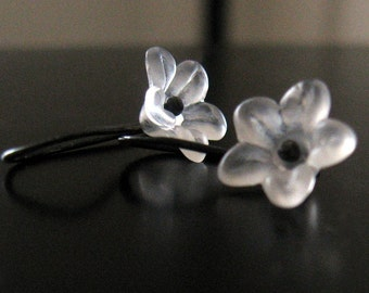 tiny ice blossoms - frosty white lucite flowers on oxidized sterling silver earwires