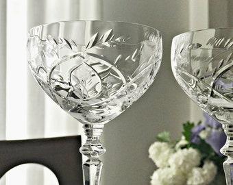 4 Crystal Coupe Champagne Glasses Stemmed Crystal Cocktail Glasses Rock Sharpe Floral