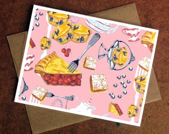 Blank Notecard, Cherry Pie, Cute Card, Pink, Blank Card, Greeting Card, Thank You Gift, Dessert Lover, Cherry Pie Card