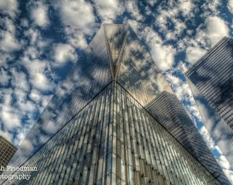 One World Trade Center Photograph, Freedom Tower, New York Photography, New York City, Financial District, Manhattan, Reflection, Art Print