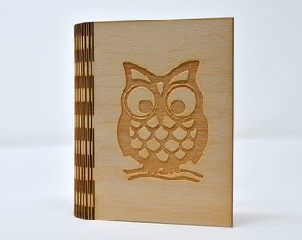 Laser Cut and Engraved Notebook - Owl - NBC-001