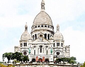 Printable Photo Art, Sacre Coeur Basilica, Instant Download Digital File, Paris Watercolor Painting