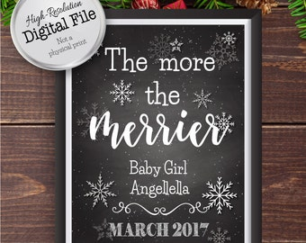 The More the Merrier, Chalkboard Christmas Baby Announcement, Pregnancy Announcement, Digital File