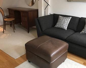 Stunning Aniline Dark Brown Leather Vintage Footstool with storage