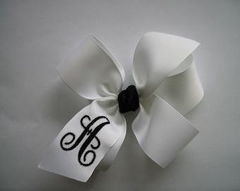 Formal White, Hair Bows, Monogram Initials, Girls Gifts, Kids Letters, Medium Solid, School Uniform, Monogrammed, Script Embroider, Preppy