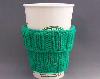 Handmade Coffee Cup Cozy - Cotton Teal Mint Green - 2 Cozies in 1
