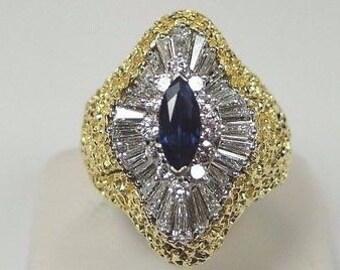Estate Sapphire Engagement Ring Platinum 18K Yellow Gold Ring   RE-926