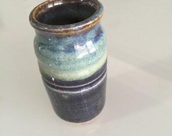 Stoneware Vase/1963 Studio Pottery/Art Pottery Small Glazed Vase/ Blue Vase/Stoneware Vase/Hand Painted Vase /Artist signed  By Gatormom13