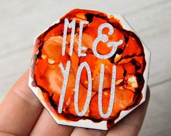 Alcohol Ink magnet - Ceramic tile art - Me and You - Glitter magnet - Orange decor - Orange magnet - Miniature art - Gift for mom - Glitter