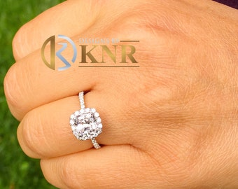 Women's 14k solid white gold cushion cut forever one moissanite and natural round cut diamond engagement ring Bridal Wedding Halo 1.80ctw