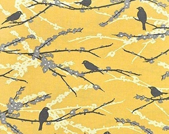 ON SALE Joel Dewberry JD41 Aviary 2 Sparrows Vintage Yellow Cotton Fabric By Yard