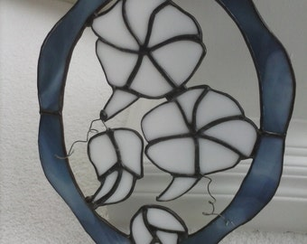 Stained Glass Morning Glories Suncatcher