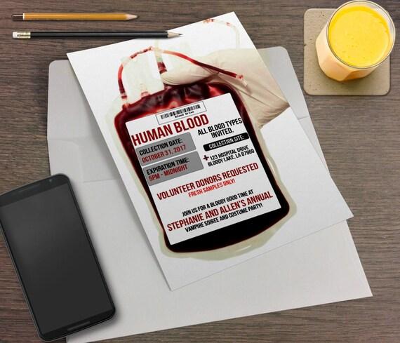 Blut-Bank Spender Vampir druckbare Halloween Party-Einladung