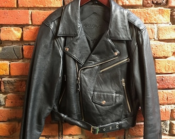 Amazing Crop Leather Jacket Biker Style Motorcycle with Lace Up Sides and Big Zipper Lapels and Pockets 1941