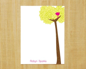 Stationery set of 8 PERSONALIZED Birdie on a Tree Flower Note Cards