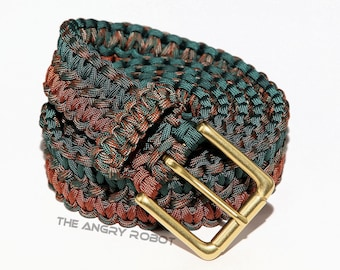 Paracord Belt Woodland Rust and Hunter - with Matte Brass Buckle - XS S M L XL XXL