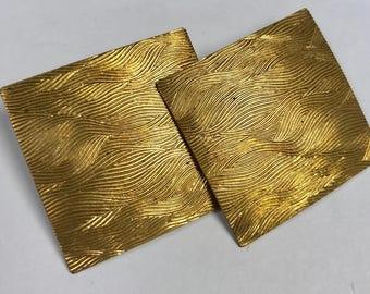 Vintage Raw Brass Metal Patterned Square Earring pkg2 m133