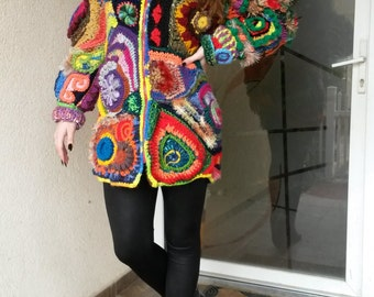 SOLD aut-only to order/Unique design Freeform Women Jacket,Coat,Cardigan,Sweater/Coloful FreeForm patchwork with zipper/boho chic