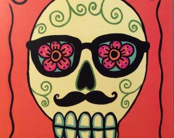 Day of the Dead Fella Postcard / Art mini print free shipping