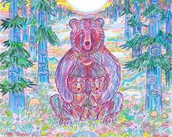 Greeting Card, Mama Bear and Cubs, Eco friendly Non toxic inks, Crescent Moon, Blue Light, Cedar Tree, Third Eye, Animal Spirit Forest Art
