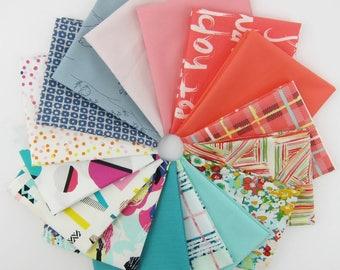 """Design Star May 2017 Fat Quarter Bundle Curated by Matthew, @misterdomestic - 15 Fat Quarters + One 24"""" Panel"""