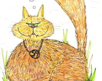 Mungojerrie ginger cat cartoon depicted by Mark G Brighouse, blank A5 card POD white C5 envelope