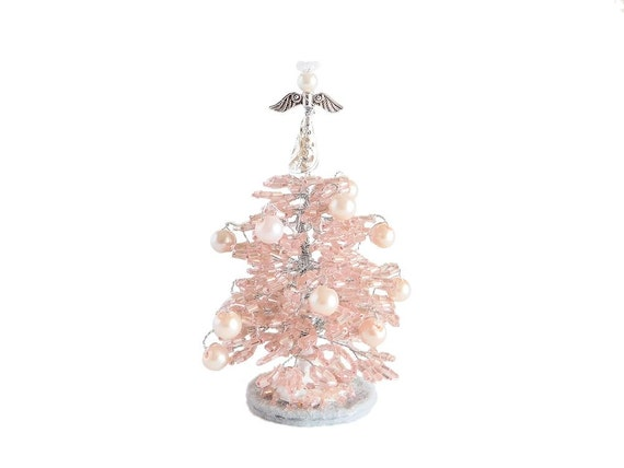 8cm beaded light pink mini christmas tree with angel topper. Black Bedroom Furniture Sets. Home Design Ideas