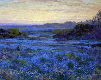 Handpainted Bluebonnet Scene By Julian Onderdonk Landscape Oil Painting Reproduction For Home Decoration Or Gift