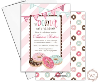 donut baby shower invitation for girls, pink mint, brown baby shower invites with donuts, printable or printed - WLP00764