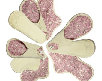 9 cotton cloth pads set / Reusable Cloth Menstrual Pads heavy / Cloth incontinence pad -  3 Light day, 3 Medium, 3 Heavy pads (Antique pink)