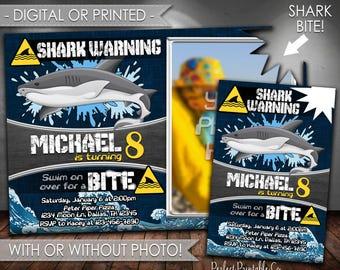 Shark Invitation, Shark Birthday Invitation, Shark Birthday Party Invitation, Shark Invite, Shark Pool Party Invitation, Digital #594