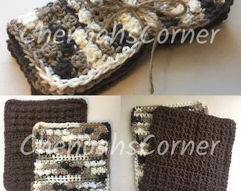 Set of 2 Washcloths, Crochet Dishcloths, Crochet Washcloths, Textured Dishcloths