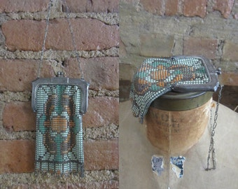 1920s Whiting & Davis enamel mesh metal purse | 20s art deco handbag