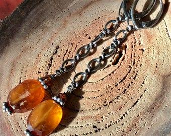 Boucles d'oreilles grenats oranges, Hessonite boucles d'oreilles, boucles d'oreilles de couleur automne, brun-Orange boucles d'oreilles, boucles d'oreilles, boucles d'oreilles à facettes, d'automne de longues chaînes