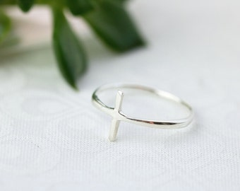 Sideways Cross Ring, Sterling Silver Cross Ring, Christian Rings, Sterling Silver Ring For Women, Catholic Ring, Catholic Jewelry