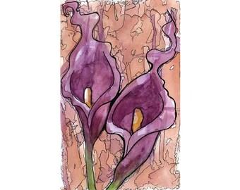 Original Watercolor - Purple Calla Lily - Art by Ela Steel - purple orange green illustration