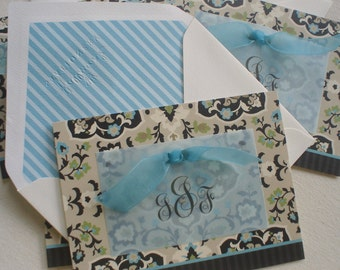 Aqua Medallion on Taupe and Black Set of Five