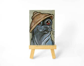 Seal Art, Acrylic Painting, ACEO Original, Salakot Hat, Nature Decor, Anthro Art, Miniature Artwork, Animal Portrait, Seal Lover