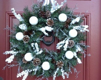 """Winter Holiday """"Snowball"""" Wreath with Snowberries, Iced Branches, Pine Cones & Snowball Ornaments on Faux Balsam Wreath. White Frosty Wreath"""
