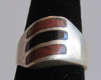 Sterling Silver and Goldstone Ring  Size 8