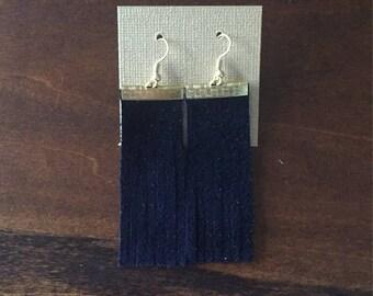Navy Suede Tassel Earrings