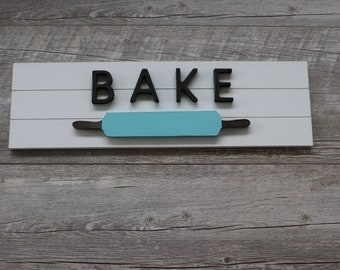 Large Teal Rolling Pin Bake Shiplap Sign