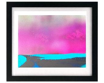 Pink Sunset Beach Seascape Limited Edition, Giclée Art Print