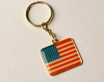 Veteran of Foreign Wars Keychain, Vintage VFW, American Flag Keychain