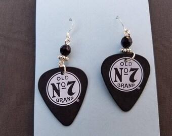 Handmade Jack Daniels Black Matte Old No. 7 Guitar Pick Earrings