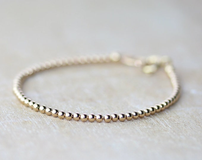 Featured listing image: Gold Beaded Bracelet | Minimalist Bracelet | Gold Stacking Bracelet