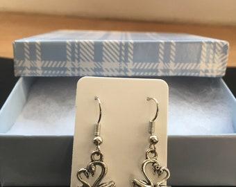 Swan Earrings - Silver Earrings - Dangle Earrings