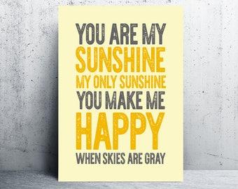 yellow gray wall art, you are my sunshine print, typography, digital art, printable quotes, printable, printable wall art, gray and yellow
